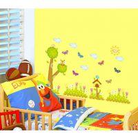 ABC1016儿童宝宝房幼儿园早教中心布置卡通大树草丛木屋墙贴壁纸