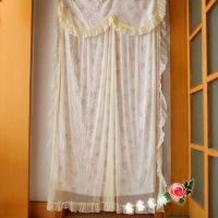 新款一件代发蕾丝粉色可爱浪漫长挂帘双层加厚卫生间门帘
