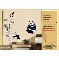 AY9051儿童房电视墙贴家装家饰可移除家居墙贴纸 竹叶熊猫贴画