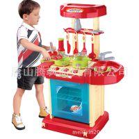 大号仿真厨房儿童过家家玩具套装带灯光音乐厨具餐具食物批发零售