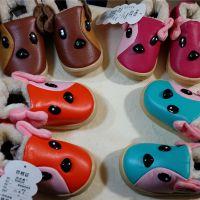 卡通儿童雪地靴男女童仿皮防水防滑拼色儿童棉鞋加绒冬季童鞋