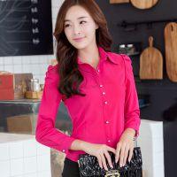 韩版秋装新款时尚职业打底衫 修身长袖泡泡袖衬衫 X8024