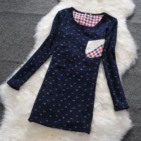 供应外贸原单森女系蕾丝口袋配皮草打底衫女长袖带加绒加厚拼接中长款