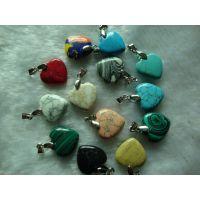 盛记宝石 天然绿松石心形吊坠 绿松石 心形吊坠 DIY饰品配件