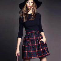 2014秋冬新款欧美一字领针织格子气质拼接修身大摆假两件连衣裙女