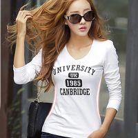 2014秋季韩国爆款 性感V领印花大码长袖打底衫 t恤女装批发