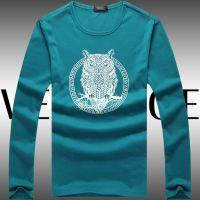 世界男装2014秋装男式长袖t恤 圆领时尚猫头鹰印花个性打底衫
