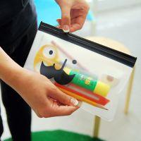 A201 韩国文具多用途胡子透明收纳笔袋 文具袋 拉边袋 笔袋