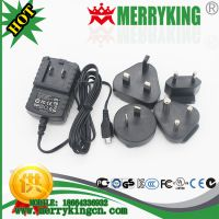 供应MERRYKING品牌 5V500mA美英澳欧规电源适配器 可换头MINI USB接口