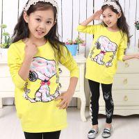 童装秋装2014新款打底衫中大童卡通儿童韩版长款上衣女童长袖T恤