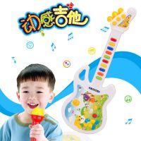 儿童仿真吉他电动灯光乐器玩具 音乐迷你小吉他批发送礼麦克风