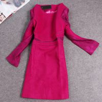 LTT309港产名媛气质女装秋冬新款长袖羊毛呢蕾丝长袖修身连衣裙