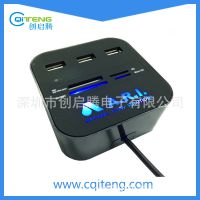 可订制带灯LOGO的USB 正方形COMBO,读卡器加HUB组合