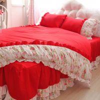 美丽梦想韩式床上用品四件套 大红色婚庆床品套件 褶皱碎花荷叶边