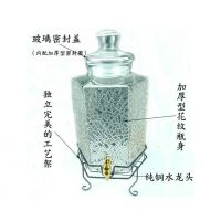批发透明10斤冰花六棱泡酒瓶 加厚密封玻璃酒罐生产厂家