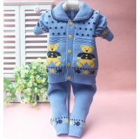 2014新款毛绒针织长袖韩版儿童毛衣外套男女童开衫  小熊印花毛衫