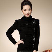 2014秋冬新品韩版大码修身高领长袖加绒加厚T恤打底衫女