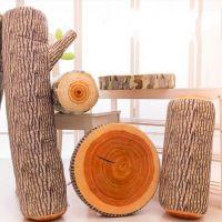 创意毛绒抱枕仿真树桩砧板年轮靠垫家居坐垫圣诞节可拆洗坐垫批发