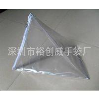 供应电压pvc手提化妆包 透明PVC化妆品袋 三角形PVC袋