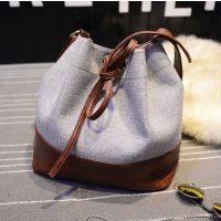 外贸帆布包韩版时尚抽带手提女包单肩水桶包女包批发直销