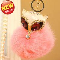 爆款韩国狐狸毛球女士包包挂件狐狸头汽车钥匙扣汽车挂件批发