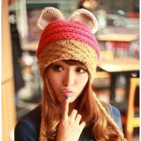 韩国可爱毛线帽 冬季兔耳朵编织辫子护耳帽 韩版撞色针织保暖帽子