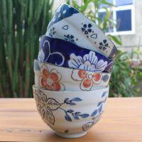 【5寸螺纹波浪】陶瓷手绘面碗餐具,支持定做 陶瓷碗