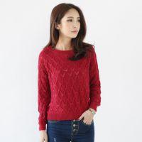 2014新款时尚百搭短款套头毛衣 韩版纯色蝙蝠袖打底衫 女6258