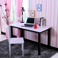 宜家钢木电脑桌书桌简约办公桌餐桌钢木椅子写字桌台环保型