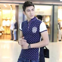 供应夏装新款 男装韩版修身短袖t恤 修身立领纯色打底衫 潮