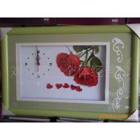 ks十字绣成品---珍爱时光.钟表,玫瑰花,十字绣成品,馈赠佳品