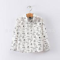 官网同款 2015春款童装男童儿童 全棉卡通印花长袖童衬衫 外贸
