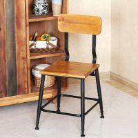 美式乡村做旧铁艺餐椅实木做旧家用餐厅咖啡休闲椅餐桌椅厂家直销