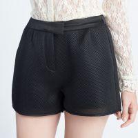 秋季新款欧美高端女装大码显瘦两色运动休闲阔腿短裤加工厂 来版订做