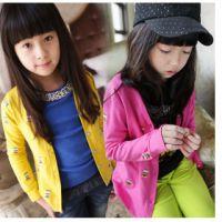 2014秋款韩版女童卡通猫头鹰儿童针织外套 大童开衫上衣