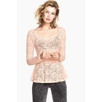 欧美秋季女装立体蕾丝花朵裙摆式上衣蕾丝衫修身打底衫A6-2311