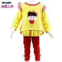 女童春季公主新款临沂货源 韩版纯棉外贸中小童套装一件代发