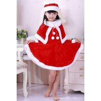 供应圣诞老人套装 女童圣诞表演演出服饰 儿童精品圣诞节女裙