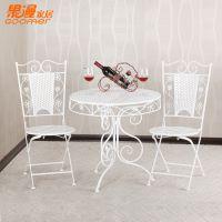 厂家直供 欧式铁艺桌椅 餐厅桌椅 时尚休闲桌椅 餐桌 一桌两椅