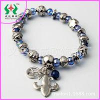 【韩国手链】韩版时尚合金百搭蓝色水晶单条弹力手链义乌饰品工厂
