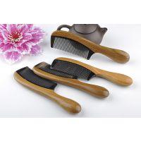 批发供应 加厚大号牛角梳子 天然绿檀木黑牛角美发梳 按摩美容梳