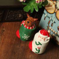 淘宝店铺批发 陶瓷彩绘圣诞老人/麋鹿调料罐 餐桌摆件58-5