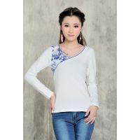 2014秋装新款民族风青花瓷印花长袖白色T恤女修身打底衫