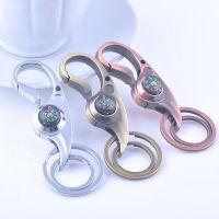 弯扣指南针钥匙扣链圈 男士高档双环腰扣 创意小商品挂件GX-299