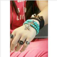 H108 欧美风格天然绿松石水晶十字架骷髅手链