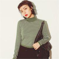 韩版2014东大门百搭弹性修身小高领细条纹短款套头针织打底衫女