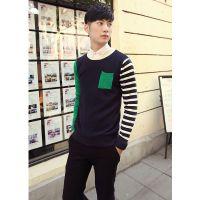 供应韩版拼色设计修身男士套头针织衫打底针织衫 男士打底毛衫