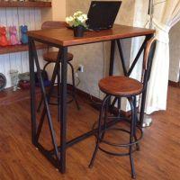 热销欧式铁艺酒吧办公桌椅实木家用餐桌椅组合咖啡餐厅奶茶店桌椅