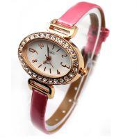 椭圆形细表带时尚手表 带钻皮带时尚手表 玫瑰金防水时尚手表