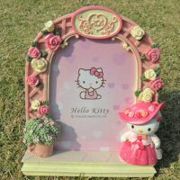 KITTY纯手工彩绘树脂欧式玫瑰花边相框 卡通公主粉色裙装相架批发